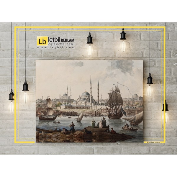 Canvas Painting - New Mosque and Istanbul Port