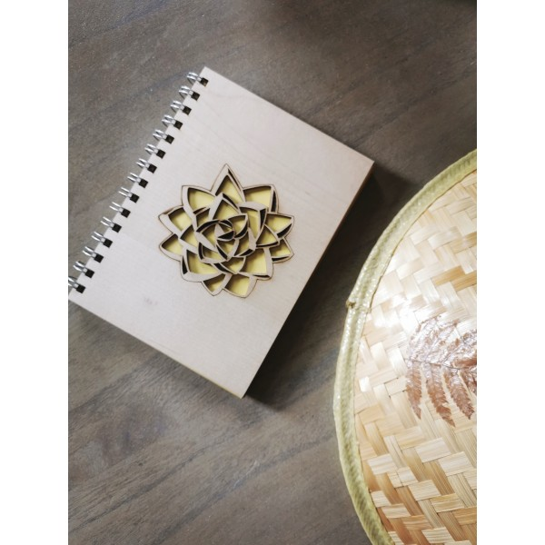 Wooden Covered Yellow Lotus Flower Motif Notebook