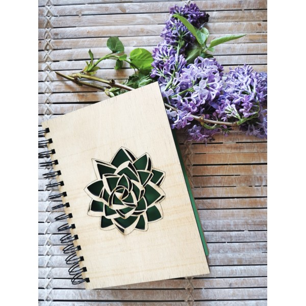 Wooden Covered Green Lotus Flower Motif Notebook