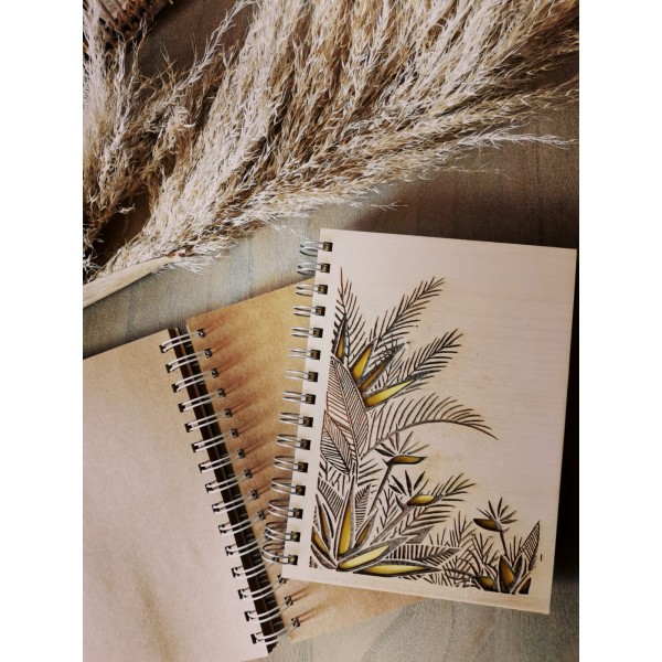 Wooden Covered Tree Motif Notebook