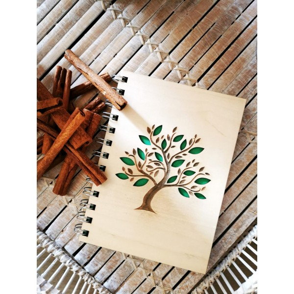 Wooden Covered Sycamore Tree Motif Notebook