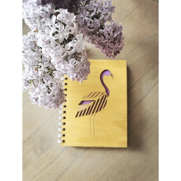 Wooden Covered Flamingo Motif Notebook