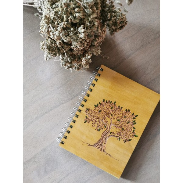 Wooden Covered Tree of Life Motif Notebook