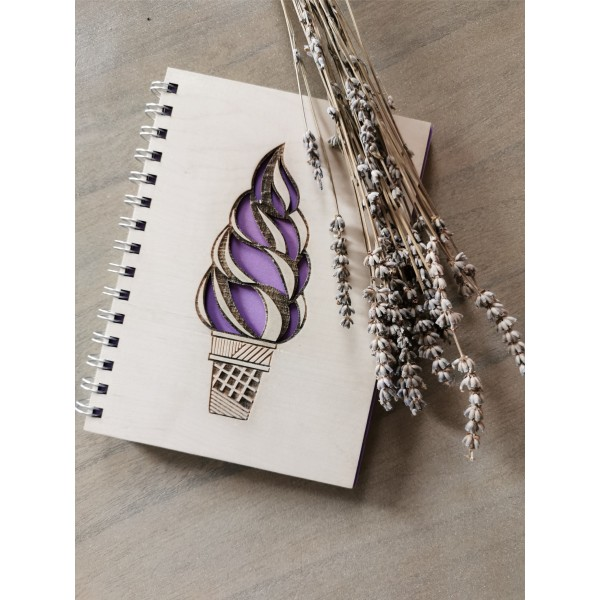Wooden Covered Ice Cream Motif Notebook
