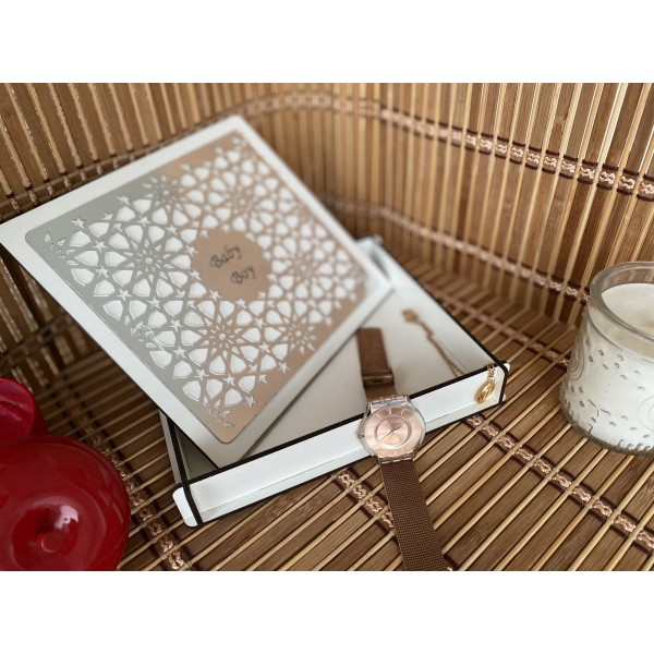 Seljuk Patterned Silver Mirror Applied (Box with Snap Lid) (150x170)
