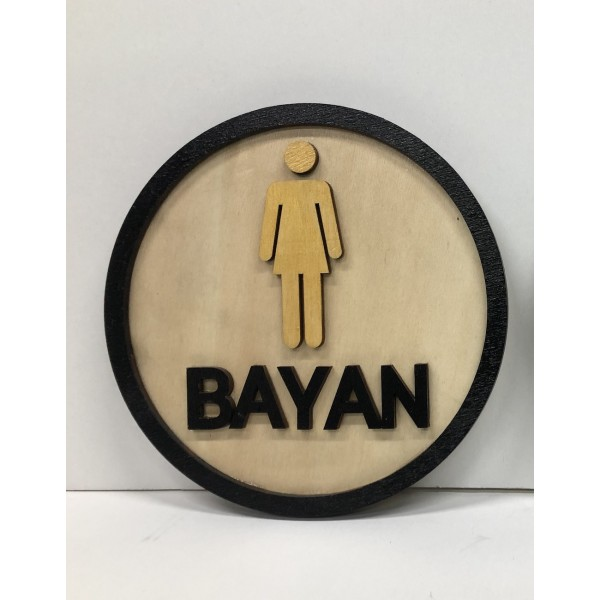 WC Women - Wooden Direction Sign